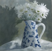 Daisies in Blue & White Jug 2016 - Oil on canvas.